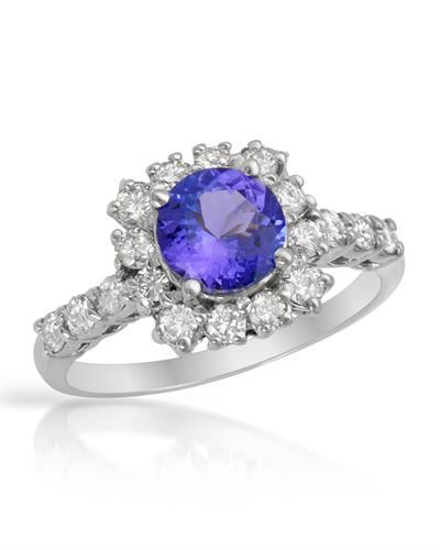 Brand New Ring with 1.55ctw of Precious Stones - diamond and tanzanite 14K White gold