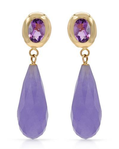 Brand New Earring with 1.6ctw of Precious Stones - amethyst and jade 14K Yellow gold