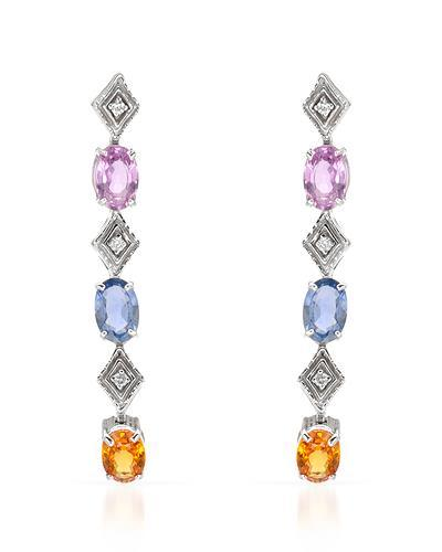 Brand New Earring with 3.2ctw of Precious Stones - diamond and sapphire 14K White gold