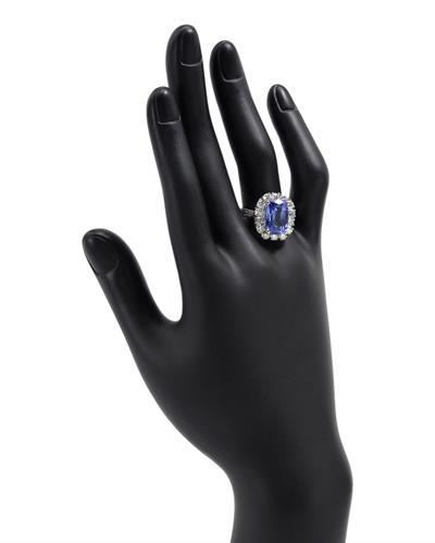 Brand New Ring with 5.76ctw of Precious Stones - diamond and tanzanite 14K White gold