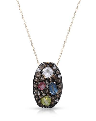 Brand New Necklace with 1.53ctw of Precious Stones - peridot, quartz, topaz, topaz, and tourmaline 10K Yellow gold
