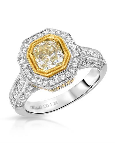 Brand New Ring with 2.1ctw of Precious Stones - diamond and diamond 18K Two tone gold