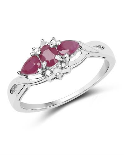 Brand New Ring with 0.64ctw of Precious Stones - diamond and ruby 925 Silver sterling silver