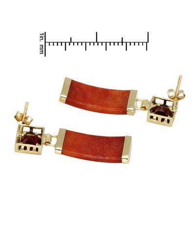Brand New Earring with 0.74ctw of Precious Stones - garnet and jade 14K Yellow gold