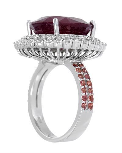 Lundstrom Brand New Ring with 17ctw of Precious Stones - diamond, ruby, and sapphire 14K White gold