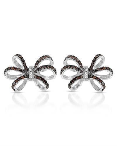 Lundstrom Brand New Earring with 0.75ctw of Precious Stones - diamond and diamond 10K White gold