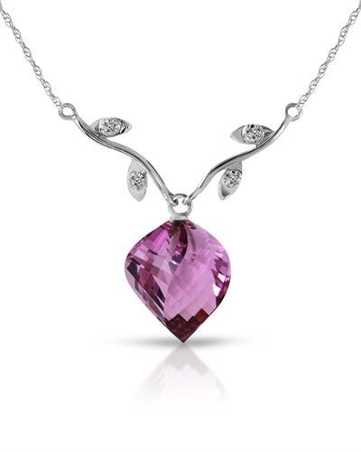 Magnolia Brand New Necklace with 10.77ctw of Precious Stones - amethyst and diamond 14K White gold