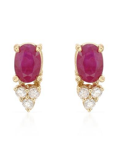 Brand New Earring with 0.98ctw of Precious Stones - diamond and ruby 14K Yellow gold