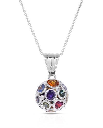 Millana Brand New Necklace with 0ctw of Precious Stones - cubic zirconia and multi gems 14K White gold