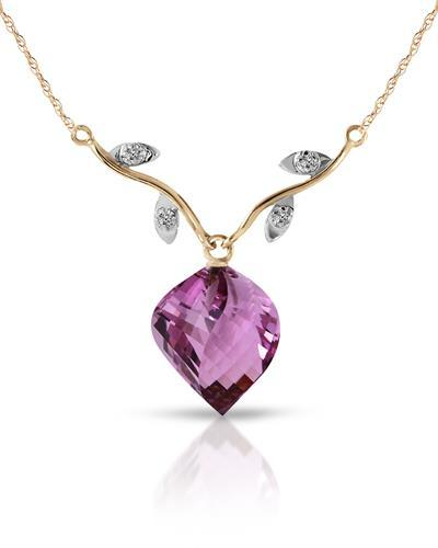 Magnolia Brand New Necklace with 10.77ctw of Precious Stones - amethyst and diamond 14K Two tone gold