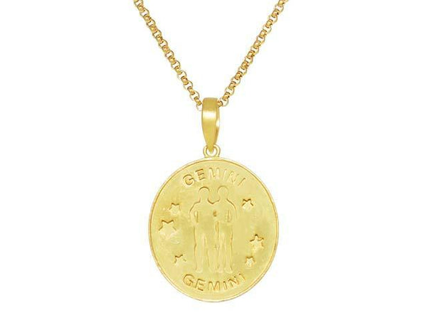 SeChic Brand New Gemini Oval Pendant in 14K Gold Plated Silver