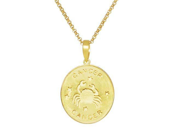SeChic Brand New Cancer Oval Pendant in 14K Gold Plated Silver