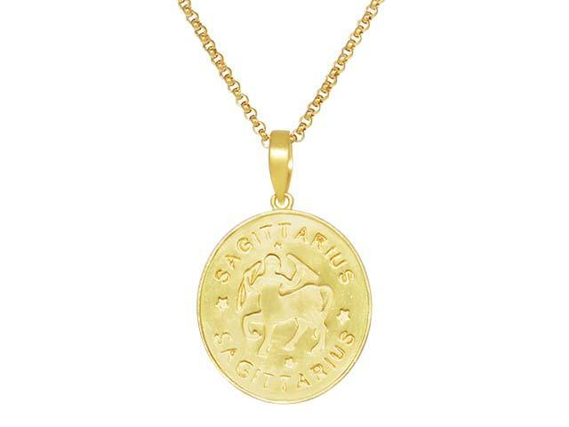 SeChic Brand New Sagittarius Oval Pendant in 14K Gold Plated Silver