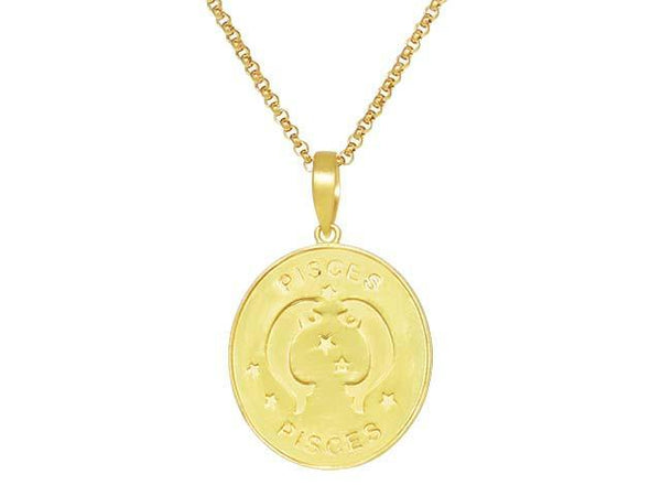 SeChic Brand New Pisces Oval Pendant in 14K Gold Plated Silver