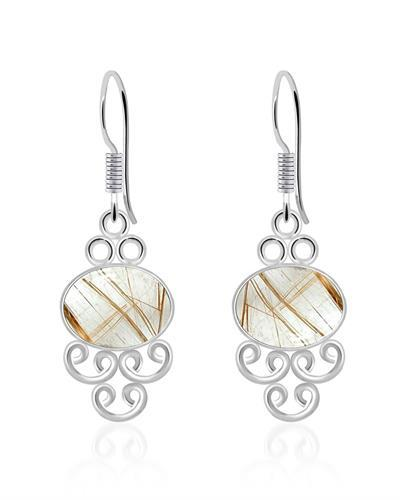 Brand New Earring with 8ctw Rutilated Quartz 925 Silver sterling silver