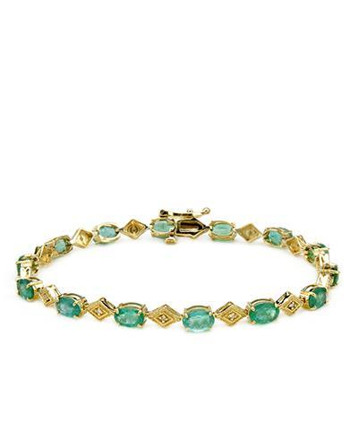 Brand New Bracelet with 5.02ctw of Precious Stones - diamond and emerald 14K Yellow gold