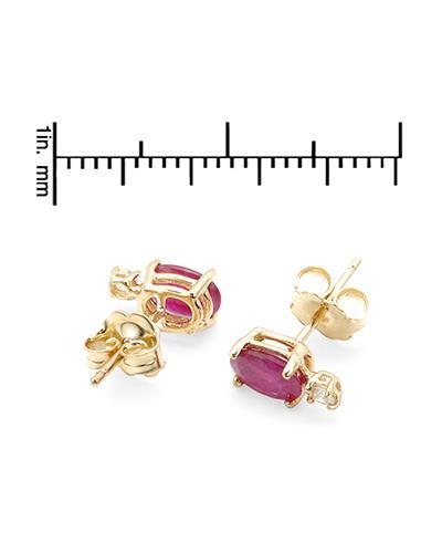 Brand New Earring with 0.96ctw of Precious Stones - diamond and ruby 14K Yellow gold