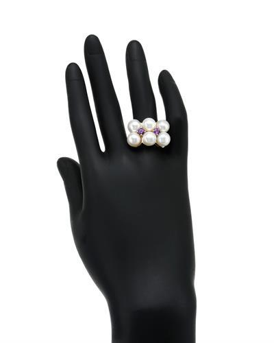 PEARL LUSTRE Brand New Ring with 1.2ctw of Precious Stones - amethyst and pearl 925 Silver sterling silver