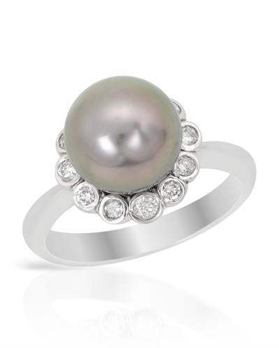 Brand New Ring with 0.25ctw of Precious Stones - diamond and pearl 14K White gold