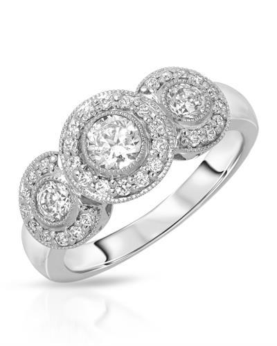 Brand New Ring with 0.75ctw of Precious Stones - cubic zirconia and cubic zirconia 925 Silver sterling silver
