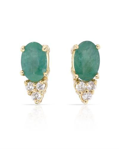 Brand New Earring with 0.82ctw of Precious Stones - diamond and emerald 14K Yellow gold