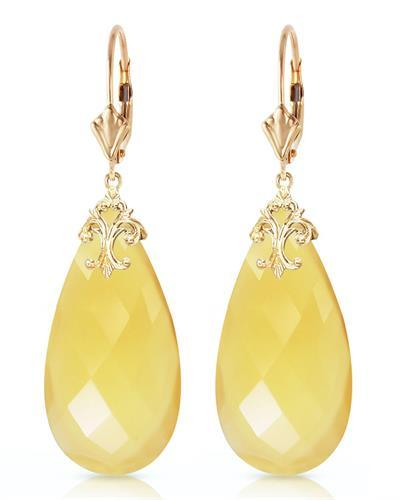 Magnolia Brand New Earring with 0ctw chalcedony 14K Yellow gold