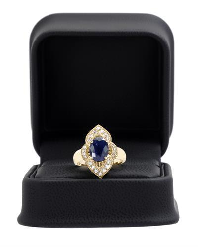 Brand New Ring with 2.4ctw of Precious Stones - diamond and sapphire 14K Yellow gold