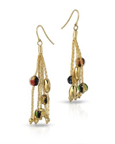 Millana Brand New Earring 14K Yellow gold and  Multicolor Murano Glass