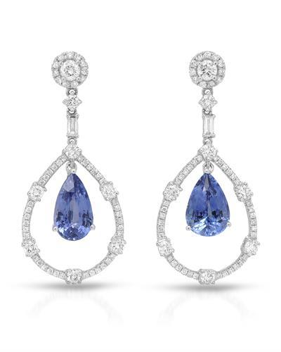Michael Christoff Brand New Earring with 8.32ctw of Precious Stones - diamond, diamond, and sapphire 18K White gold