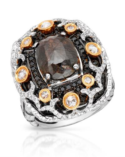 Brand New Ring with 4.57ctw of Precious Stones - diamond, diamond, diamond, and diamond  Black Enamel and 18K G - H gold
