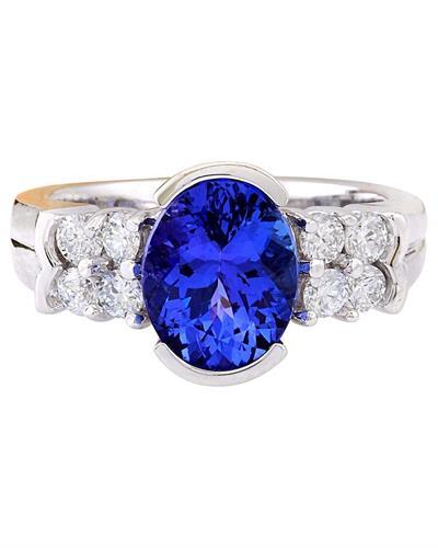 3.28 Carat Natural Tanzanite 14K Solid White Gold Diamond Ring