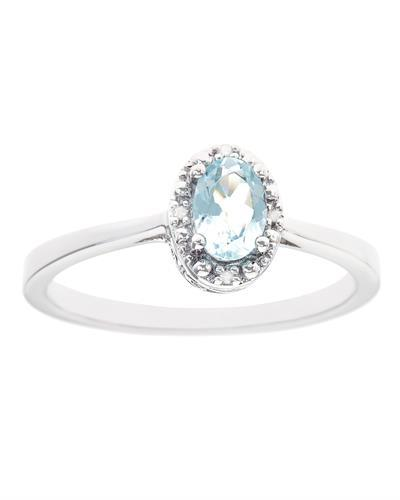 Brand New Ring with 0.41ctw of Precious Stones - aquamarine and diamond 925 Silver sterling silver