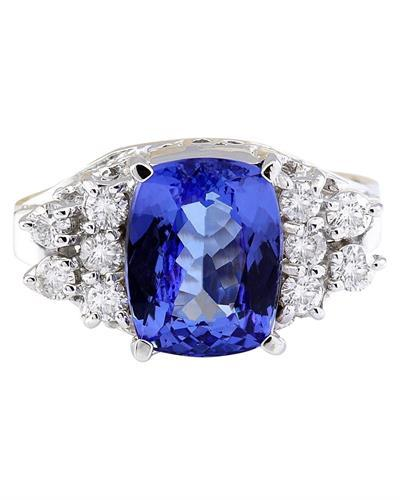3.40 Carat Natural Tanzanite 14K Solid White Gold Diamond Ring