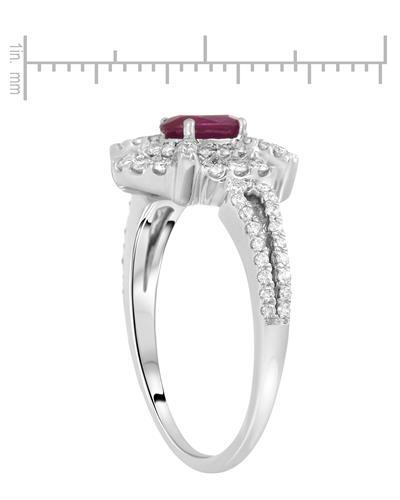 Lundstrom Brand New Ring with 1.06ctw of Precious Stones - diamond and ruby 14K White gold
