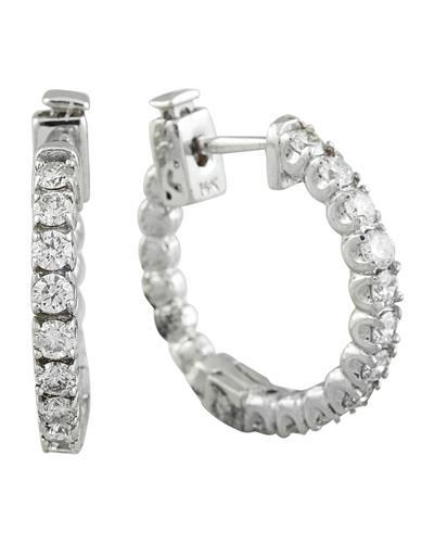 1.10 Carat 14K White Gold Diamond Hoop Earrings