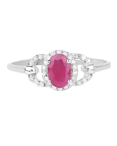 Brand New Ring with 0.64ctw of Precious Stones - diamond and ruby 10K White gold