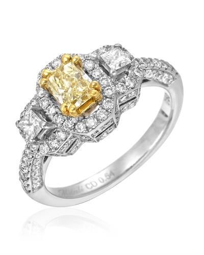 Brand New Ring with 1.55ctw of Precious Stones - diamond, diamond, and diamond 18K Two tone gold