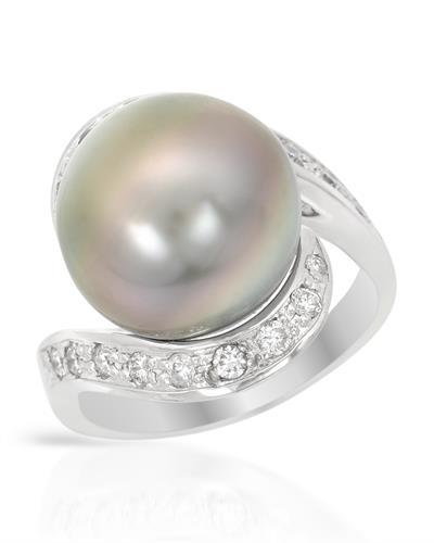 Brand New Ring with 0.38ctw of Precious Stones - diamond and pearl 14K White gold