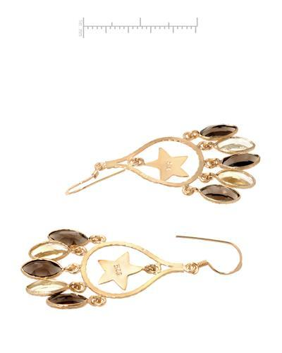 Brand New Earring with 10.15ctw of Precious Stones - citrine and topaz 10K/925 Yellow Gold plated Silver