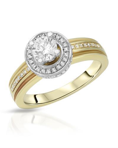 Brand New Ring with 0.85ctw of Precious Stones - cubic zirconia and cubic zirconia 925 Two tone sterling silver