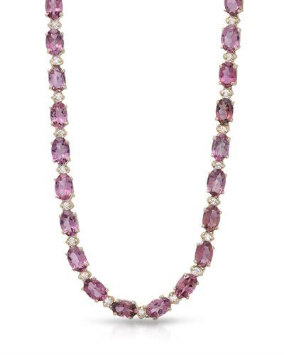 Lundstrom Brand New Necklace with 26.25ctw of Precious Stones - diamond and tourmaline 14K Yellow gold