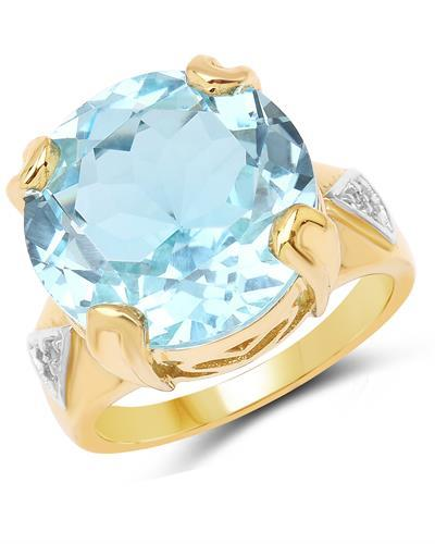 Brand New Ring with 12.98ctw of Precious Stones - topaz and topaz 14K/925 Yellow Gold plated Silver