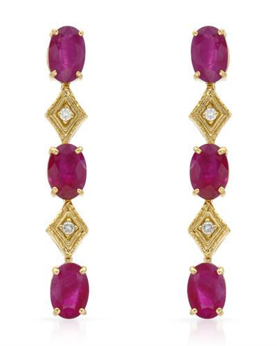 Brand New Earring with 3.04ctw of Precious Stones - diamond and ruby 14K Yellow gold