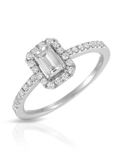 Whitehall Brand New Ring with 0.76ctw of Precious Stones - diamond and diamond ctr 18K White gold