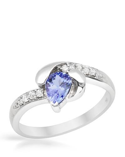 Brand New Ring with 0.8ctw of Precious Stones - diamond and tanzanite 14K White gold