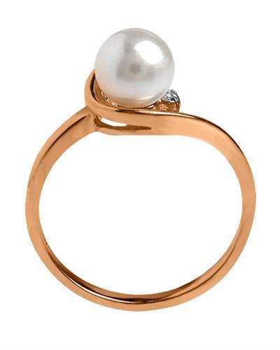 Magnolia Brand New Ring with 0.01ctw of Precious Stones - diamond and pearl 14K Two tone gold