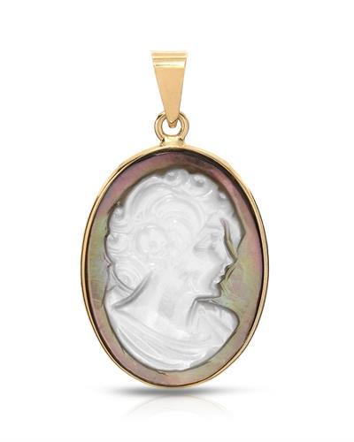 Aucella Brand New Pendant with 0ctw cameo 14K Yellow gold