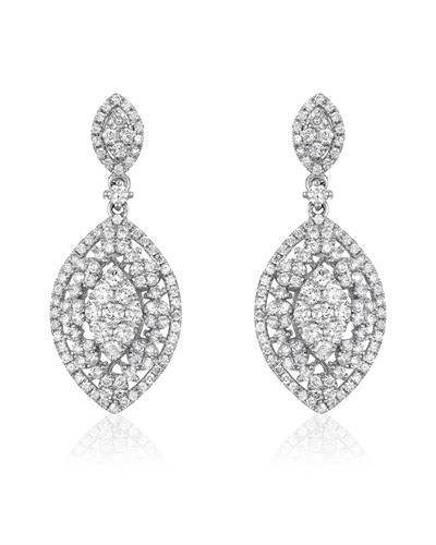 Whitehall Brand New Earring with 2.02ctw diamond 18K White gold