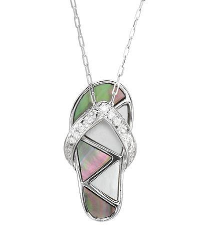 Millana Brand New Necklace with 0.02ctw of Precious Stones - diamond and mother of pearl 14K White gold