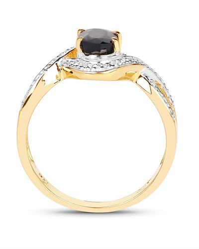 Brand New Ring with 0.95ctw sapphire 14K/925 Yellow Gold plated Silver